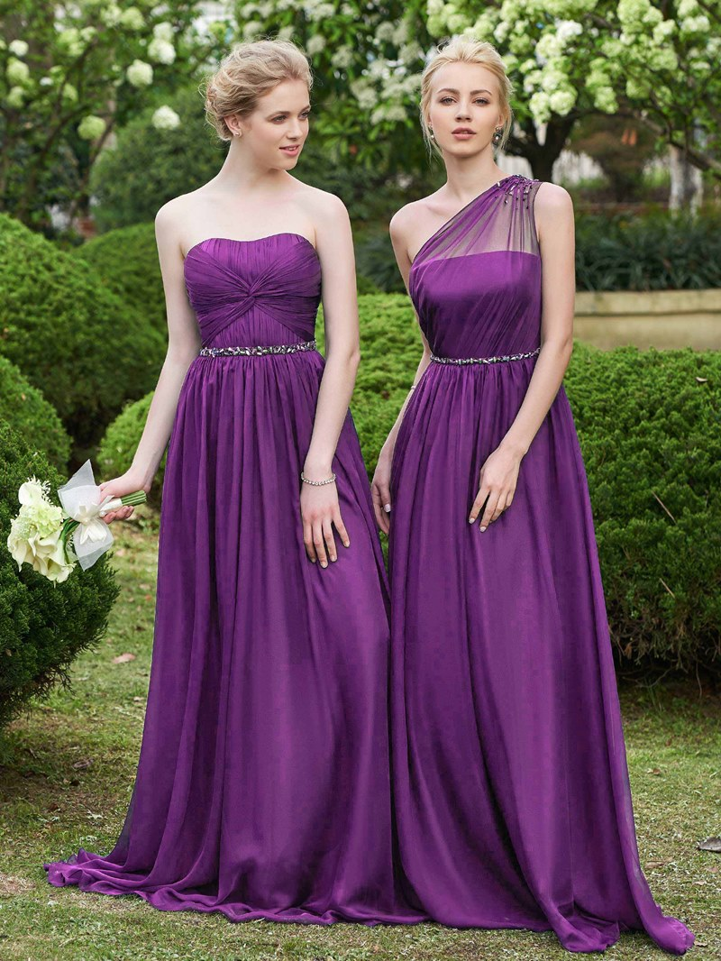 Ericdress One Shoulder Beading Long Bridesmaid Dress