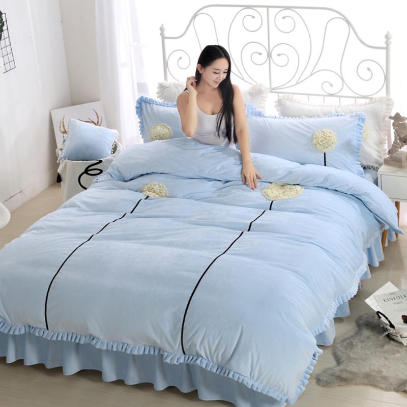Simple Dandelion Design Crystal Velvet Bed Skirt 4-Piece Bedding Sets/Duvet Cover