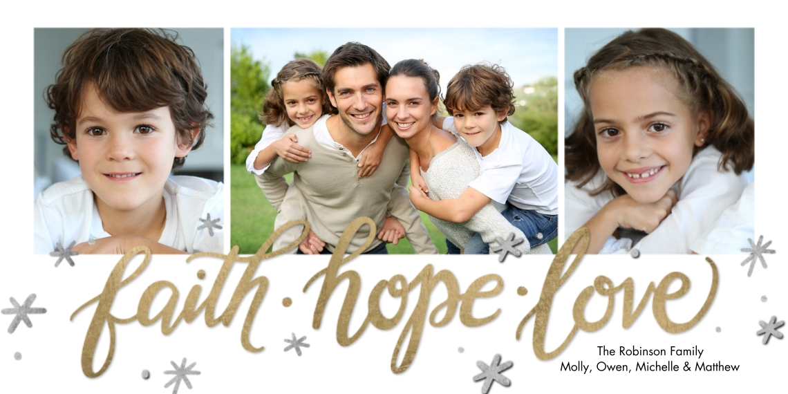 Christmas Photo Cards 4x8 Flat Card Set, 85lb, Card & Stationery -Christmas Rustic Faith Hope Love by Tumbalina
