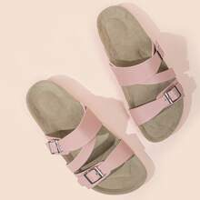 Double Buckle Glitter Slide Sandals