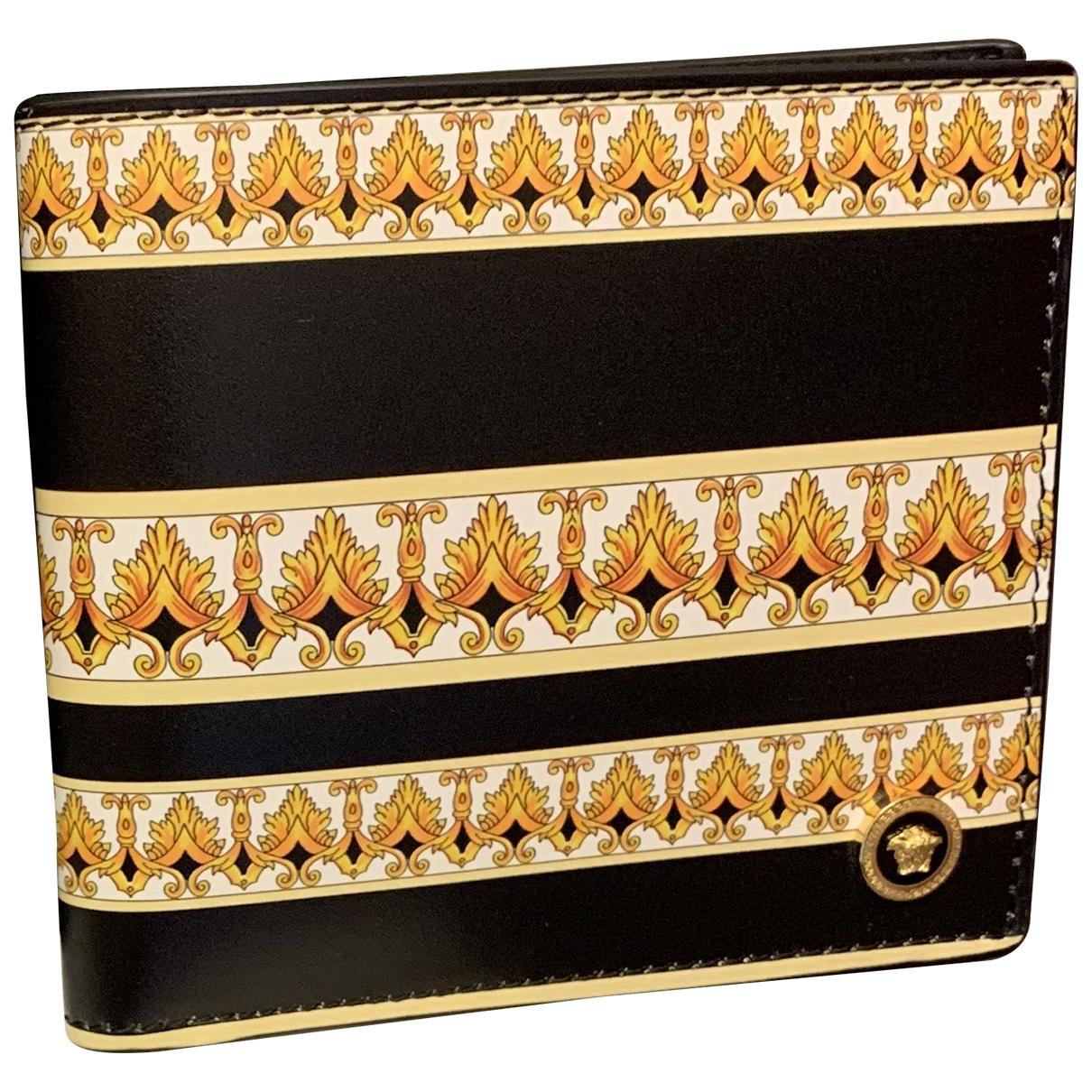 Versace - Petite maroquinerie   pour homme en cuir - dore / noir