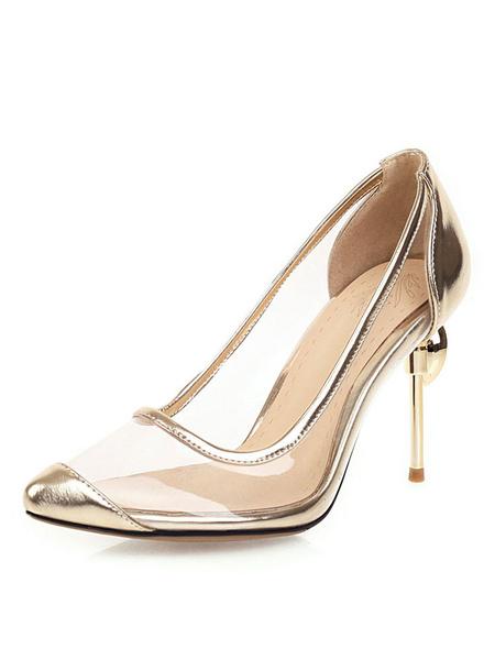 Milanoo Women's High Heels Clea Transparente Stiletto Heel Plus Sizer Pumps