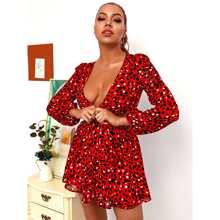 HouseOfChic vestido de leopardo de cintura con abertura de cuello profundo