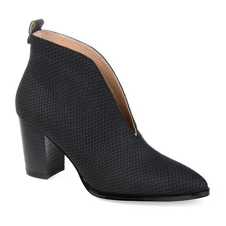 Journee Collection Womens Bellamy Stacked Heel Booties, 7 Medium, Black
