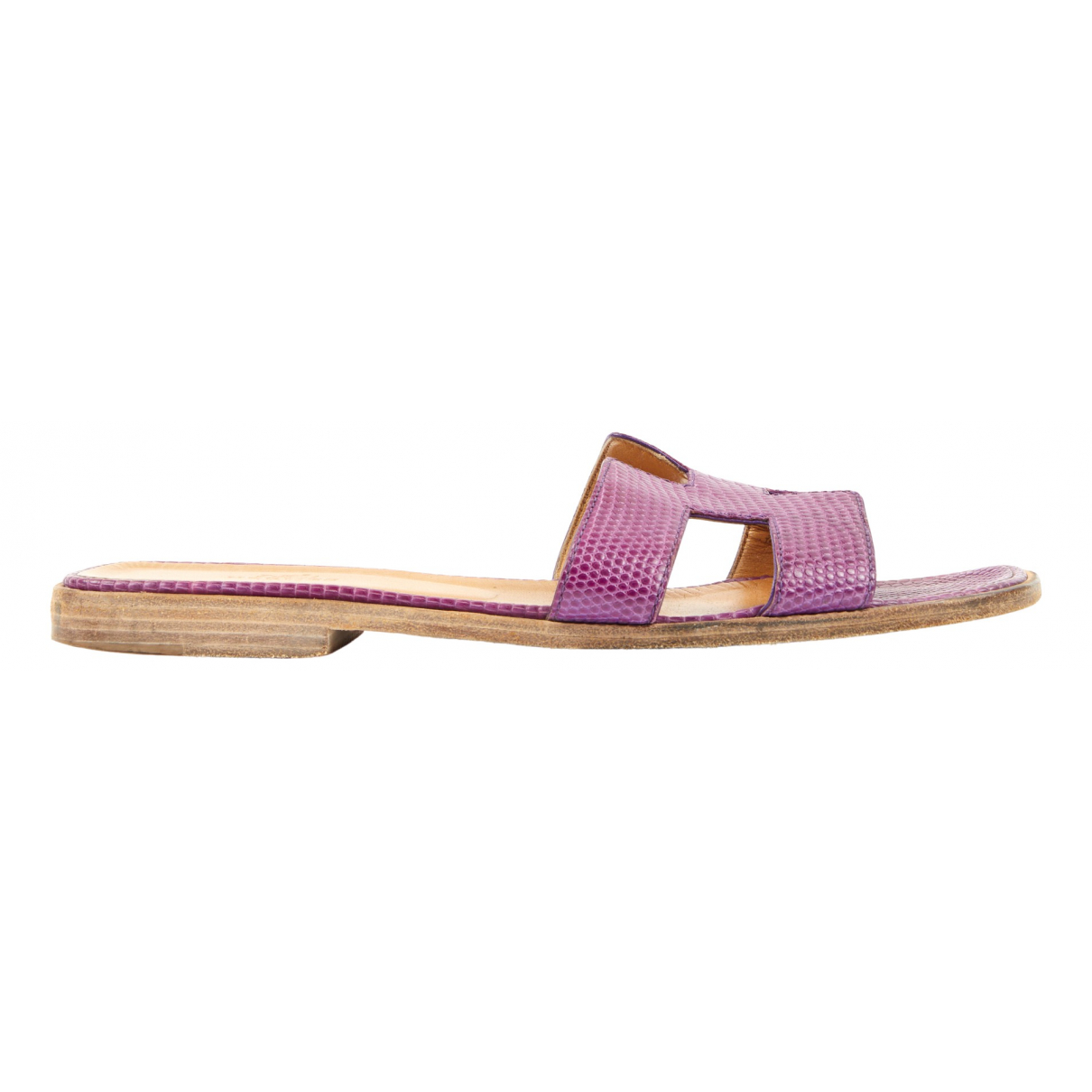 Hermès Oran Purple Lizard Sandals for Women 39 EU