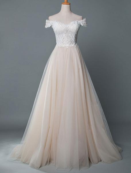 Milanoo Vestido de novia fuera del hombro sin mangas de alta division de encaje personalizado con vestidos de novia de tren