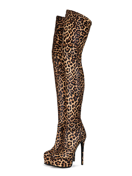 Milanoo Over The Knee Boots Round Toe Leopard Print Stiletto Heel Winter Platform Boots For Women
