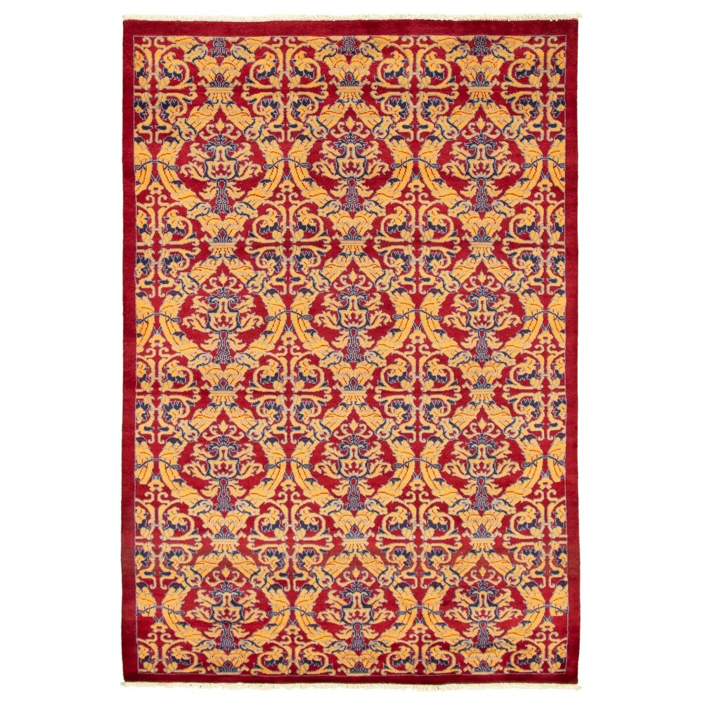 ECARPETGALLERY  Hand-knotted Pak Finest Red Wool Rug - 5'1 x 7'7 (5'1 x 7'7 - Dark Red)