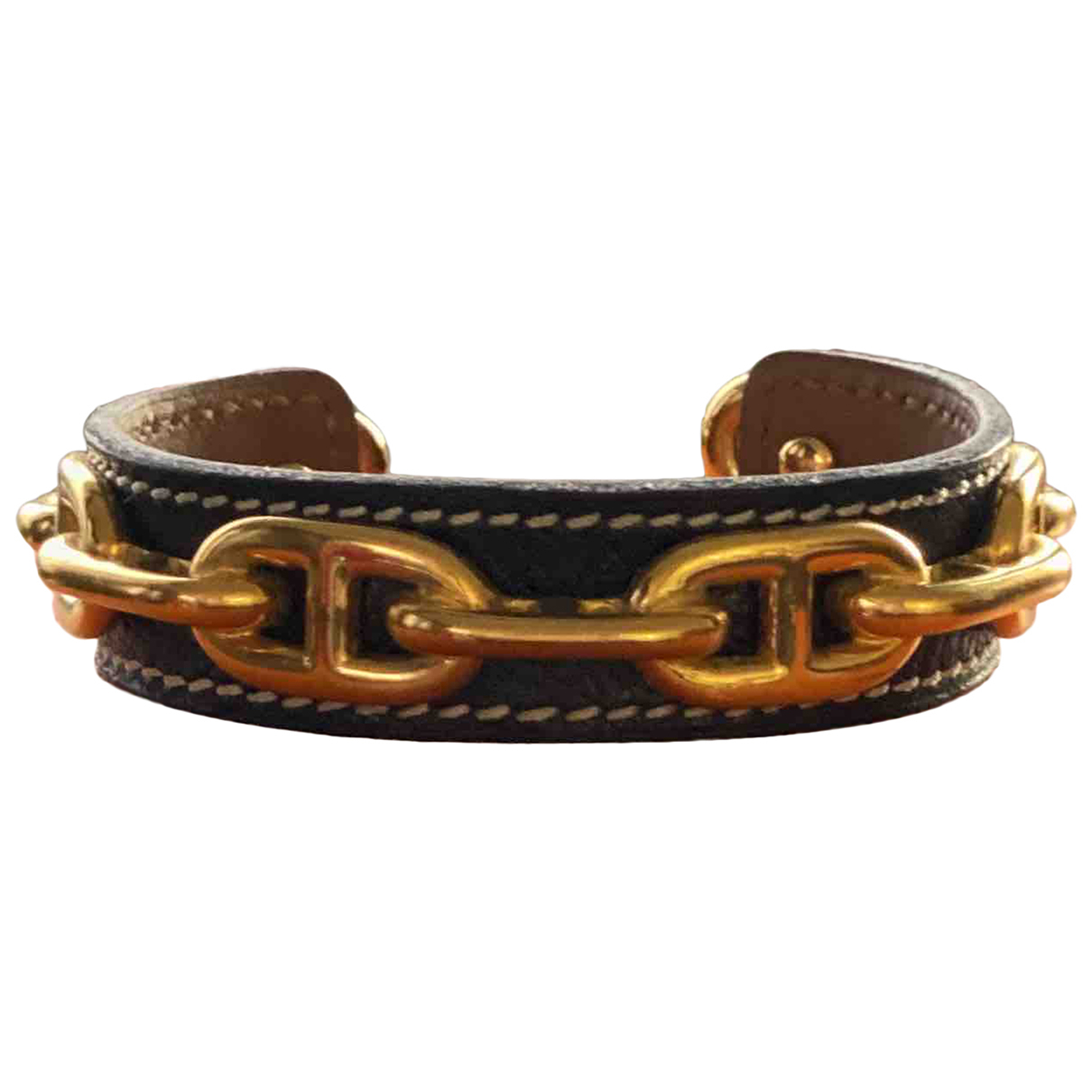 Hermes - Bracelet Chaine dAncre pour femme en cuir - noir
