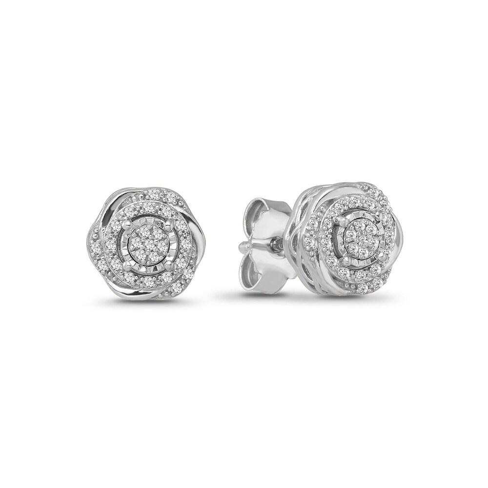 925 Sterling Silver 1/10 Carat Diamond Flower Cluster Stud Earrings for Women (White)