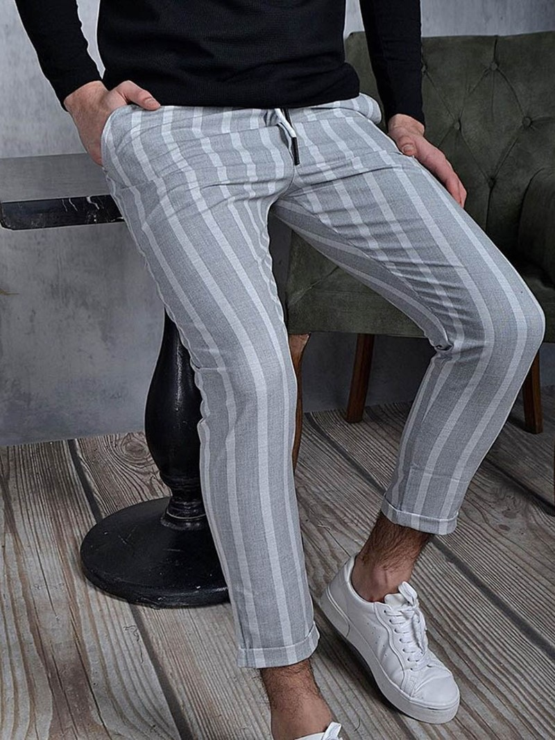 Ericdress Stripe Pencil Pants Casual Lace-Up Casual Pants