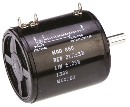 Vishay 1 Gang 10 Turn Rotary Wirewound Potentiometer with an 6.35 mm Dia. Shaft - 2kΩ, ±1%, 8W Power Rating, Linear,