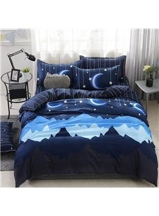 Cartoon Midnight Duvet Cover Soft 4-Piece Washable Polyester Bedding Sets