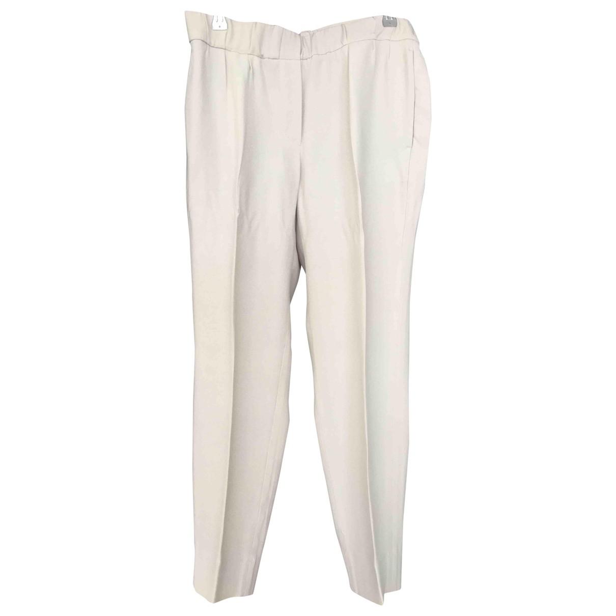 Brunello Cucinelli \N Beige Silk Trousers for Women 42 IT