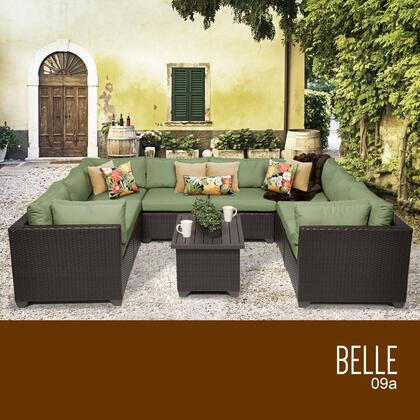 BELLE-09a-CILANTRO Belle 9 Piece Outdoor Wicker Patio Furniture Set 09a with 2 Covers: Wheat and