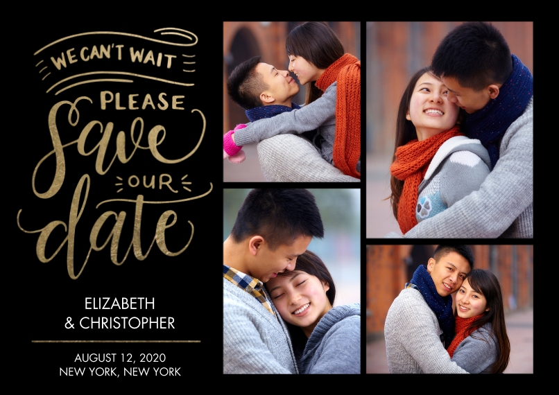 Save the Date 5x7 Cards, Premium Cardstock 120lb, Card & Stationery -Save the Date Cant Wait
