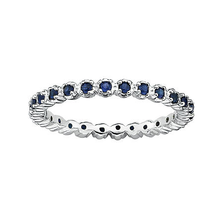 Personally Stackable Lab-Created Sapphire Sterling Silver Eternity Ring, 7 , No Color Family