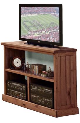 31700 TV Stand with 3 Open Compartments and Solid Pine Wood Construction in Mahogany