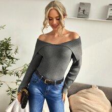 Off Shoulder Foldover Detail Ribbed Knit Sweater