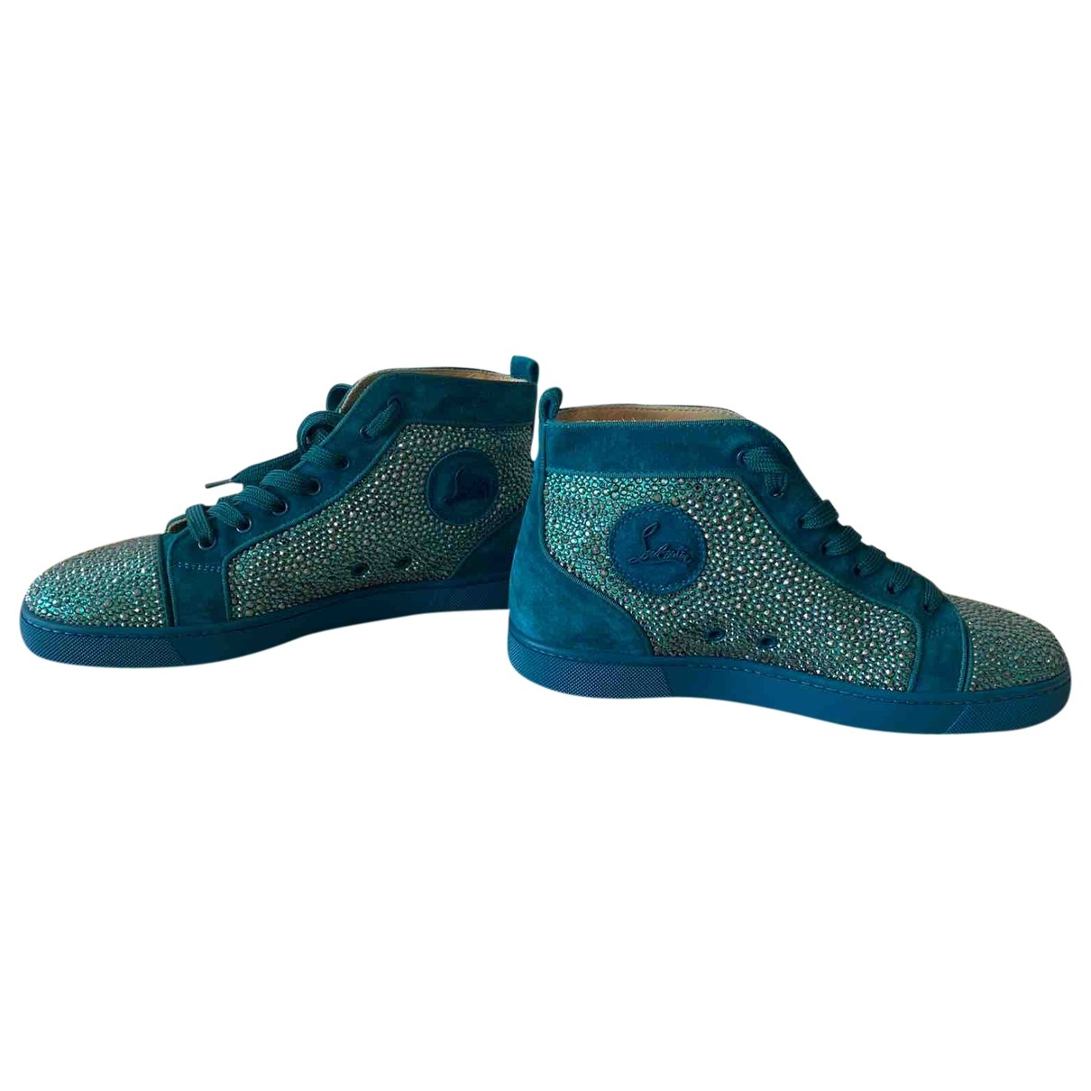 Christian Louboutin Louis Sneakers in  Tuerkis Mit Pailletten