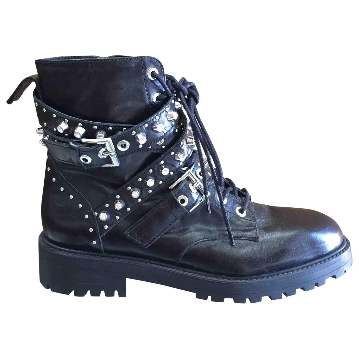Zara \N Black Leather Boots for Women 38 EU