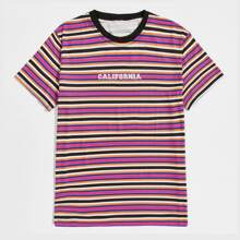 Guys Striped & Letter Embroidery Tee