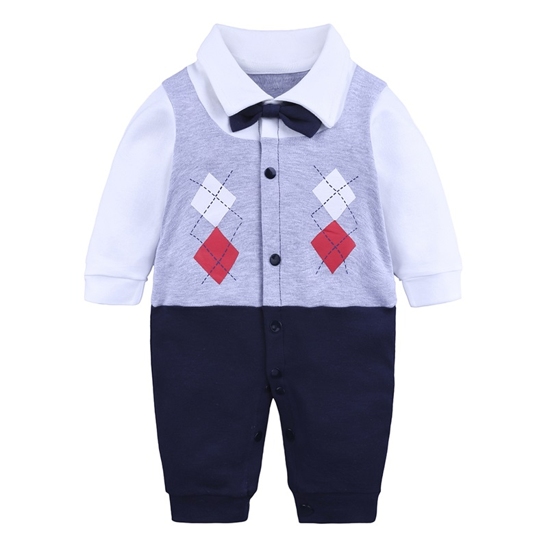 Long Sleeve Cotton Material Fake Vest Pattern Fastener Infant Jumpsuit/ Baby Bodysuit