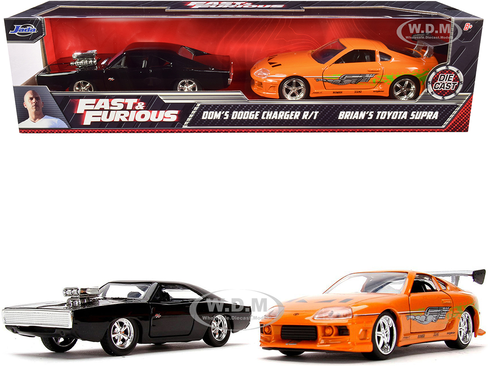 Doms Dodge Charger R/T Black and Brians Toyota Supra Orange Set of 2 pieces