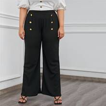 Plus Solid Button Detail Wide Leg Pants