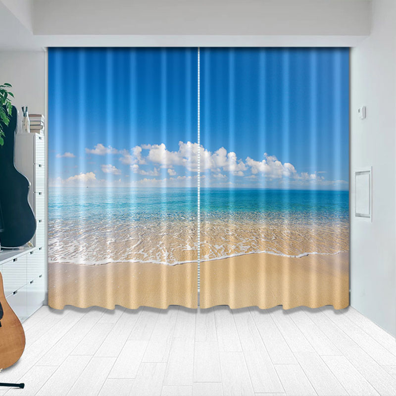 Blackout Creative Ocean Beach Blue Curtains 260g ㎡ Classy Silky Satin Polyester Heat Insulation Shading Effect and Anti-ultraviolet Radiation for Fres