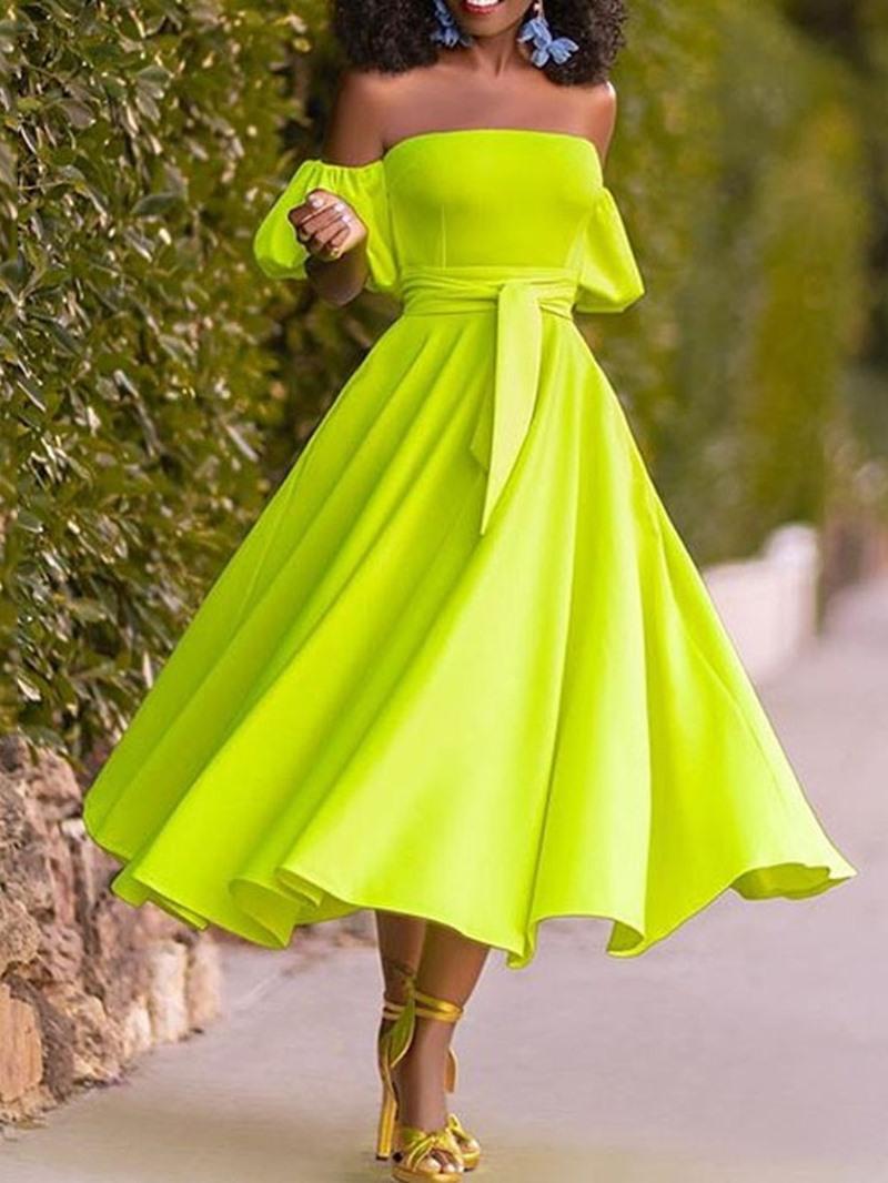 Ericdress Mid-Calf Short Sleeve Off Shoulder Cold Shoulder Plain Dress