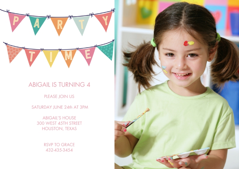 Kids Birthday Party 5x7 Cards, Premium Cardstock 120lb with Rounded Corners, Card & Stationery -Party Invite Banner by Tumbalina