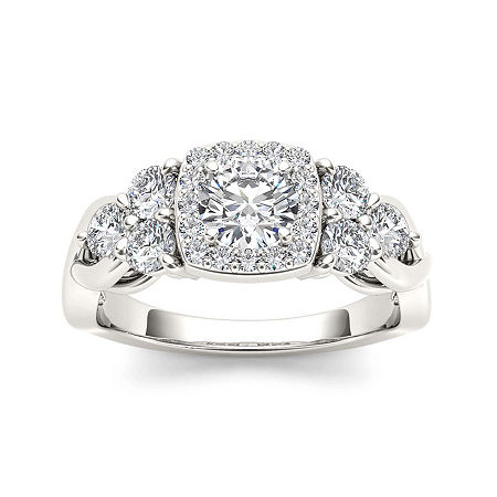 1 1/2 CT. T.W. Diamond 14K White Gold Engagement Ring, 7 1/2 , No Color Family