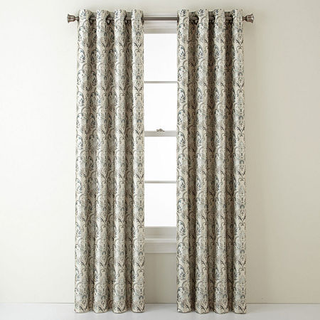 JCPenney Home Blaine Blackout Grommet-Top Single Curtain Panel, One Size , Green