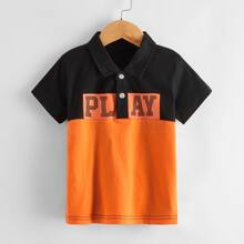 Toddler Boy Color-block Letter Graphic Polo Shirt