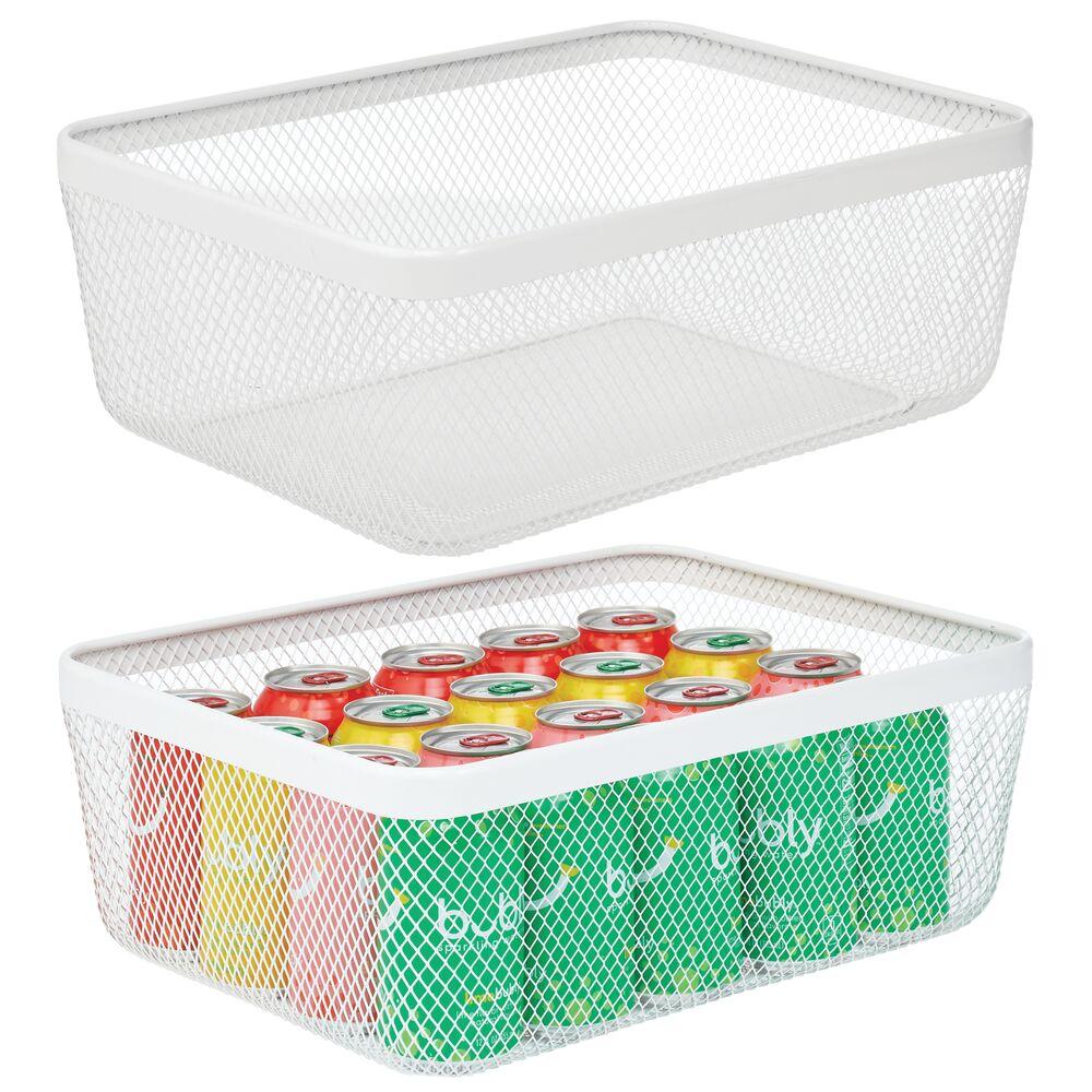 Metal Wire Basket for Kitchen Food Storage in White, 16