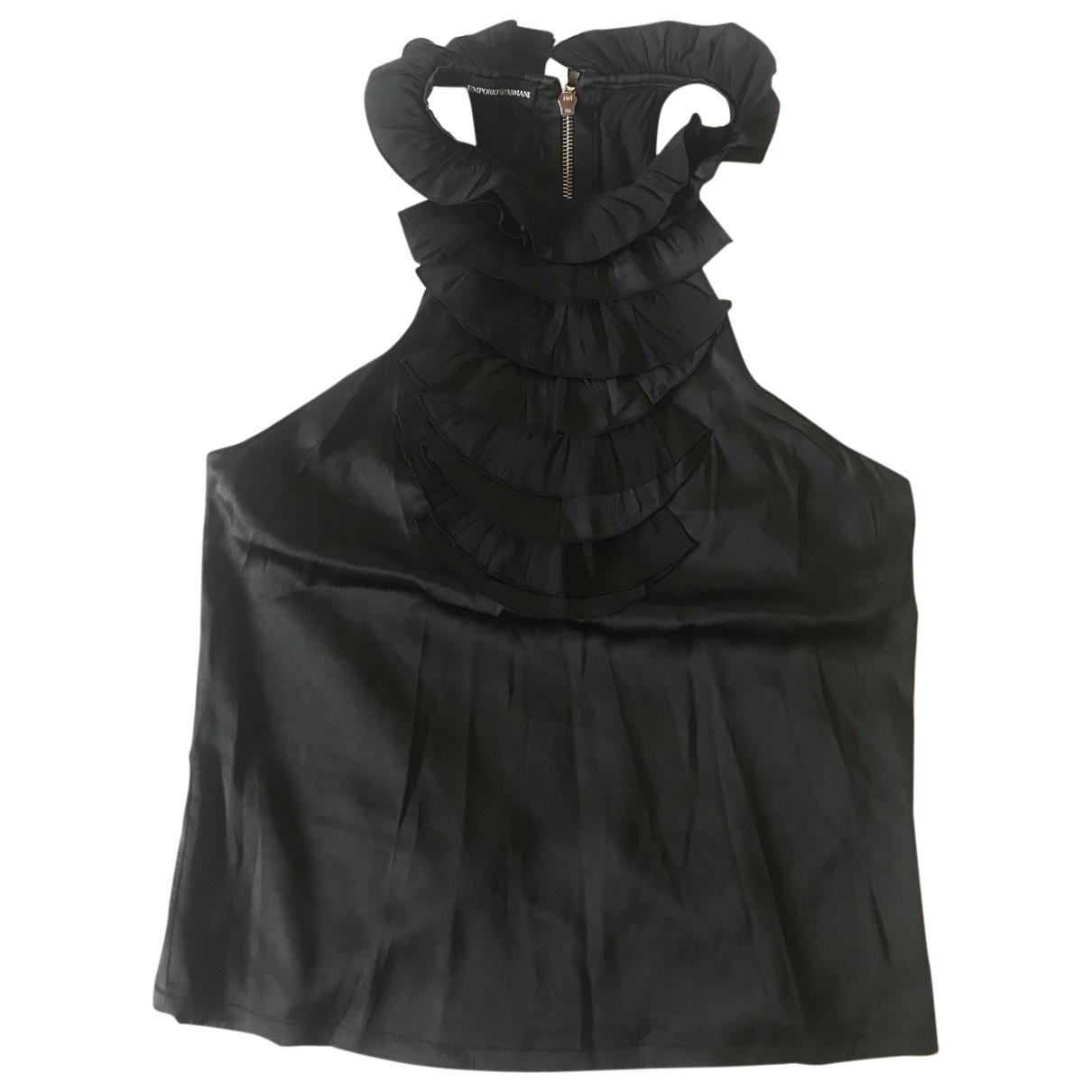 Emporio Armani - Top   pour femme en soie - noir