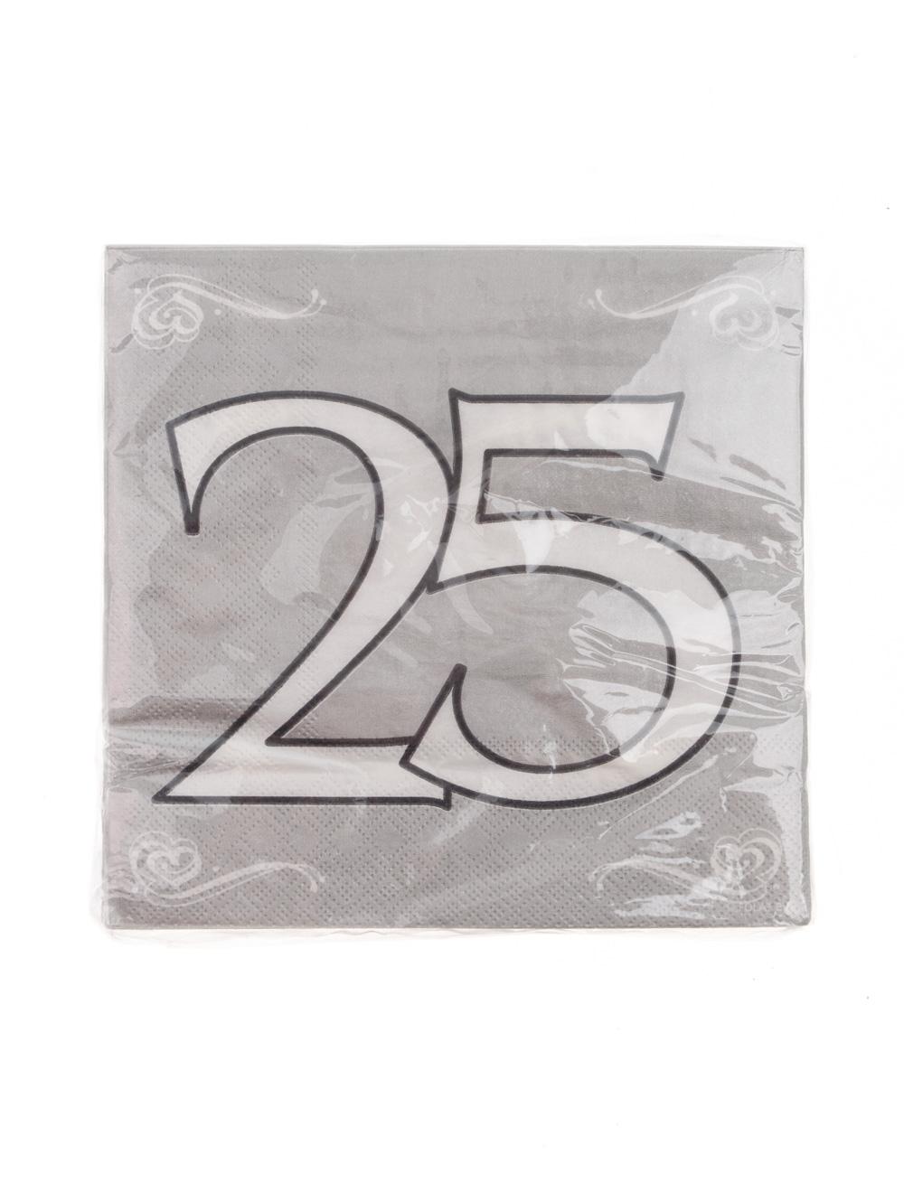 Servietten 25 Jahre silber 20 Stk.