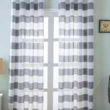 1pc Stripe Pattern Sheer Curtain