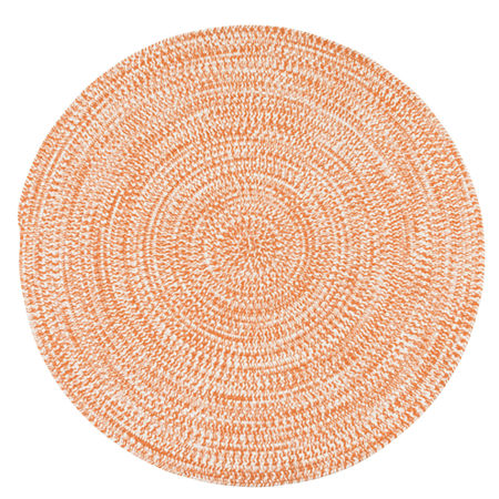 Colonial Mills Biscayne Tweed Braided Round Reversible Indoor/Outdoor Rugs, One Size , Orange