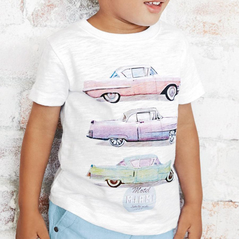 Cartoon Pattern Toddlers Boys Short Sleeve Casual T-Shirt For 1Y-7Y