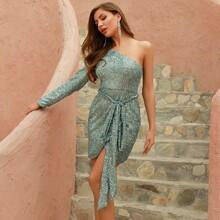 DKRX One Shoulder Belted Sequin Wrap Dress