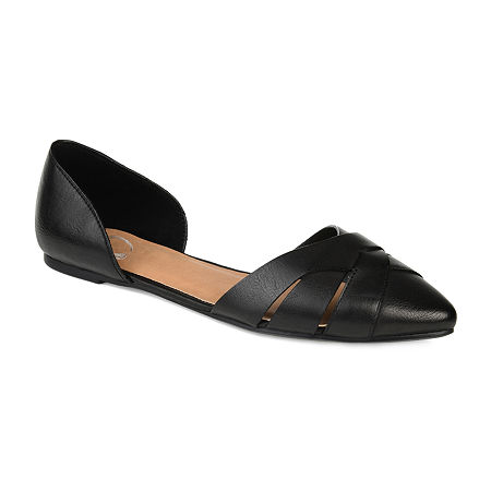 Journee Collection Womens Brandee Slip-on Pointed Toe Ballet Flats, 6 1/2 Medium, Black