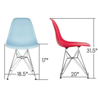 CozyBlock Blue Molded Plastic Dining Side Chair with Steel Wire Eiffel Legs