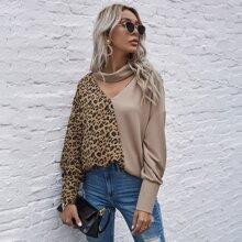 Camiseta panel de leopardo de color combinado con abertura