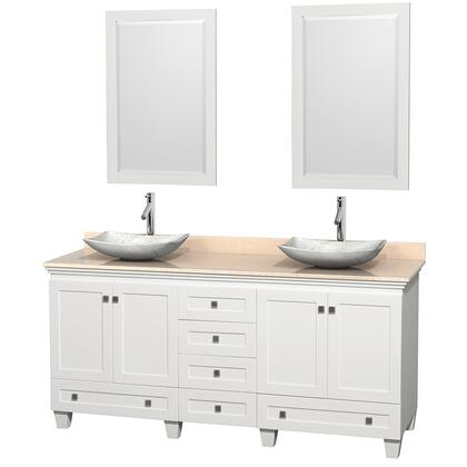 WCV800072DWHIVGS6M24 72 in. Double Bathroom Vanity in White  Ivory Marble Countertop  Arista White Carrera Marble Sinks  and 24 in.