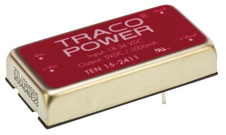 TRACOPOWER TEN 15 15W Isolated DC-DC Converter Through Hole, Voltage in 18 → 36 V dc, Voltage out 5V dc