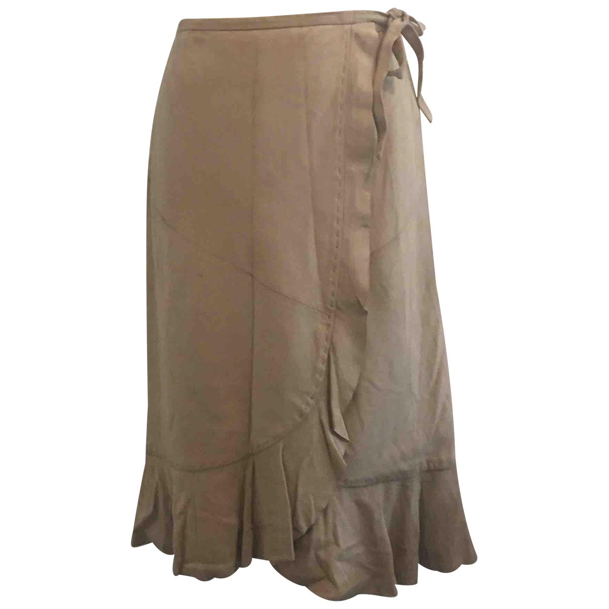 Max Mara - Jupe   pour femme en suede - beige