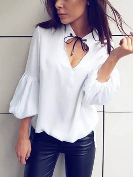 Yoins Black Cut Out Choker Neck Long Sleeves Blouse