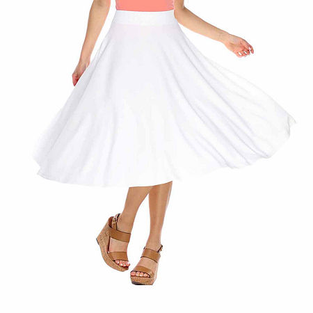 White Mark Tasmin Womens Mid Rise Stretch Midi Flared Skirt, Large , White